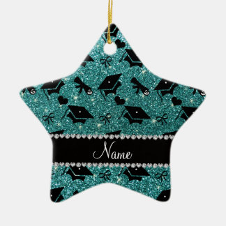 Personalized name turquoise graduation hearts ceramic star decoration