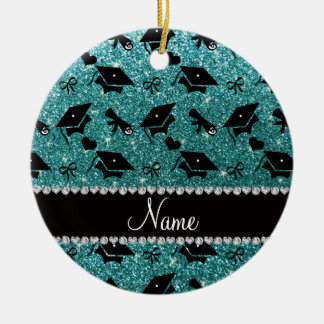 Personalized name turquoise graduation hearts round ceramic decoration