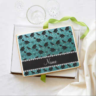 Personalized name turquoise graduation hearts