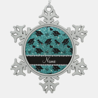 Personalized name turquoise graduation hearts pewter snowflake decoration