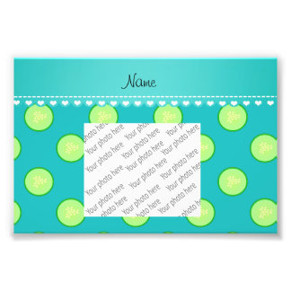 Personalized name turquoise green cucumber slice photo
