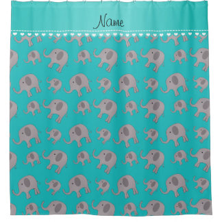 Personalized name turquoise grey elephants shower curtain