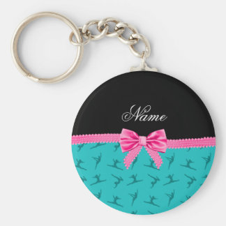Personalized name turquoise gymnastics pink bow key ring