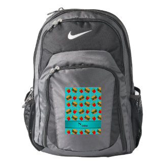Personalized name turquoise hamburgers fries dots backpack