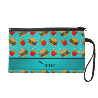 Personalized name turquoise hamburgers fries dots wristlet purses