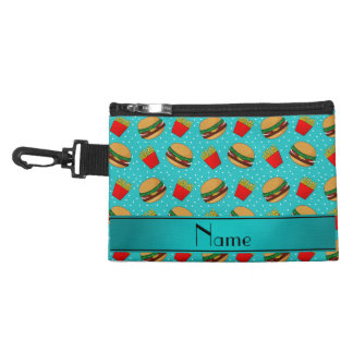 Personalized name turquoise hamburgers fries dots accessory bags