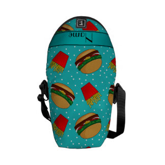 Personalized name turquoise hamburgers fries dots messenger bag