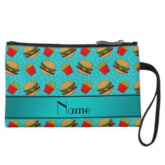 Personalized name turquoise hamburgers fries dots wristlet purses