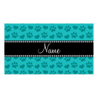 Personalized name turquoise hearts and paw prints business card templates
