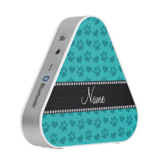 Personalized name turquoise hearts and paw prints speaker