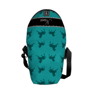 Personalized name turquoise horse pattern commuter bag