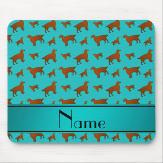 Personalized name turquoise irish setter dogs mouse pad