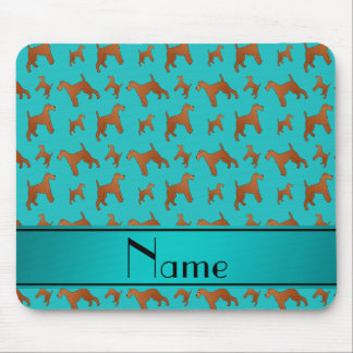 Personalized name turquoise irish terrier dogs mouse pad