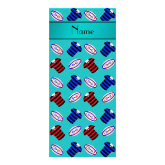 Personalized name turquoise jerseys rugby balls rack card template