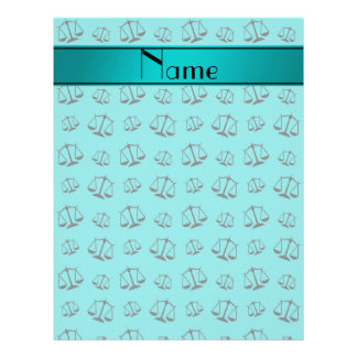 Personalized name turquoise justice scales 21.5 cm x 28 cm flyer