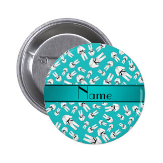 Personalized name turquoise karate pattern button