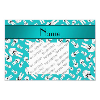Personalized name turquoise karate pattern photo