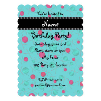 Personalized name turquoise knitting pattern cards