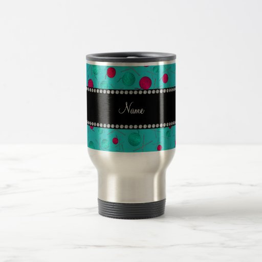 Personalized name turquoise knitting pattern mugs