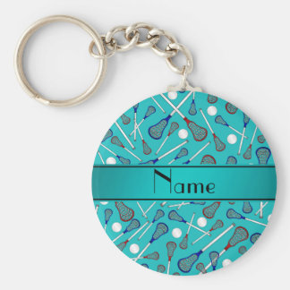 Personalized name turquoise lacrosse pattern basic round button key ring
