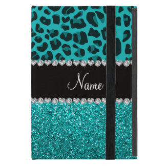 Personalized name turquoise leopard and glitter iPad mini case