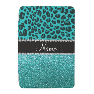 Personalized name turquoise leopard and glitter iPad mini cover