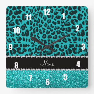 Personalized name turquoise leopard glitter wallclocks