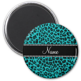 Personalized name turquoise leopard pattern 6 cm round magnet