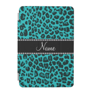 Personalized name turquoise leopard pattern iPad mini cover