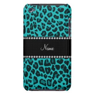 Personalized name turquoise leopard pattern iPod touch case