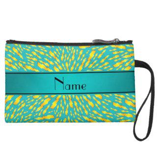 Personalized name turquoise lightning bolts wristlet purses