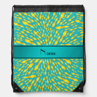 Personalized name turquoise lightning bolts drawstring backpacks