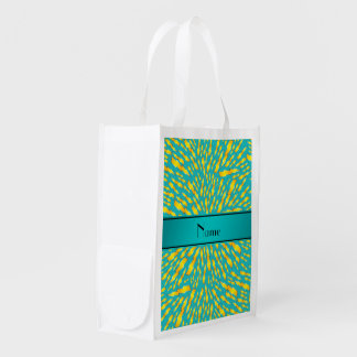 Personalized name turquoise lightning bolts market totes