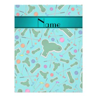 Personalized name turquoise mini golf custom flyer