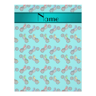 Personalized name turquoise motorcycles 21.5 cm x 28 cm flyer