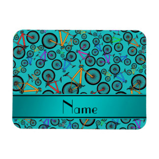 Personalized name turquoise mountain bikes rectangle magnet