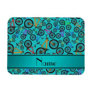Personalized name turquoise mountain bikes rectangular photo magnet