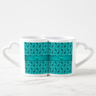 Personalized name turquoise music notes lovers mugs