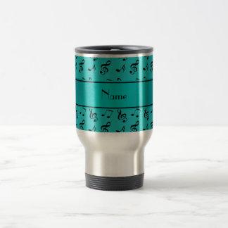 Personalized name turquoise music notes travel mug
