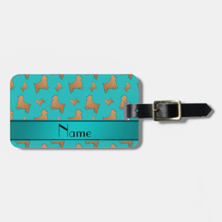 Personalized name turquoise Norwich Terrier dogs Luggage Tag