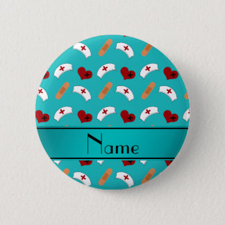 Personalized name turquoise nurse pattern 6 cm round badge