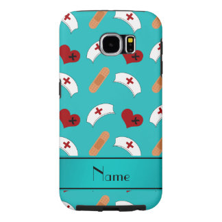 Personalized name turquoise nurse pattern samsung galaxy s6 cases