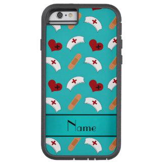 Personalized name turquoise nurse pattern tough xtreme iPhone 6 case