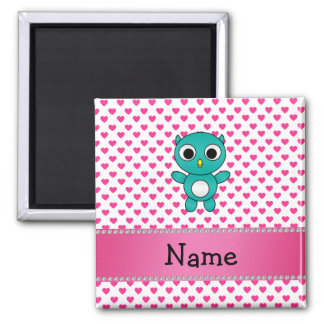 Personalized name turquoise owl pink hearts magnet
