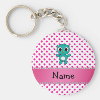 Personalized name turquoise owl pink stars basic round button key ring