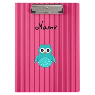 Personalized name turquoise owl pink stripes clipboard