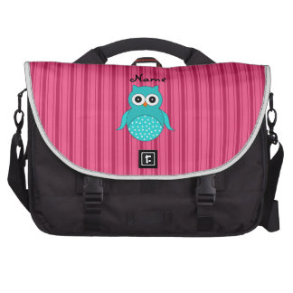 Personalized name turquoise owl pink stripes commuter bags