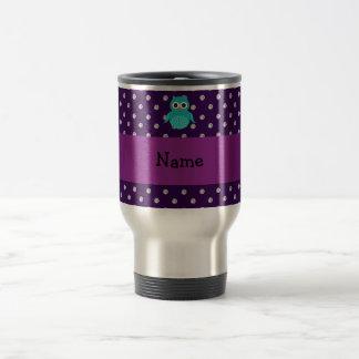 Personalized name turquoise owl purple diamonds travel mug
