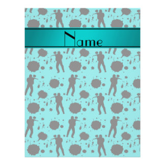 Personalized name turquoise paintball pattern 21.5 cm x 28 cm flyer