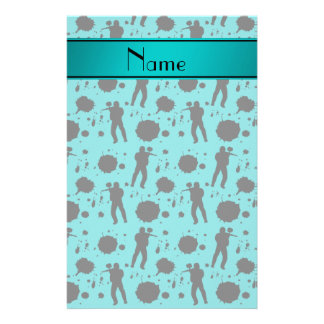 Personalized name turquoise paintball pattern stationery design